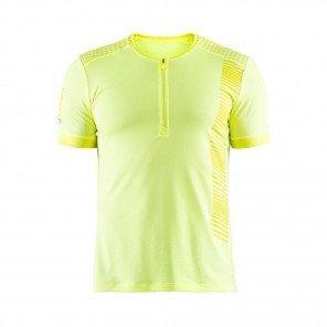 CRAFT Tee-Shirt manches courtes Zippé Grit Homme Jaune face